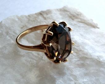 10K Gold Smoky Topaz Ring Statement Ring Bohemian Large Stone Size 6.5