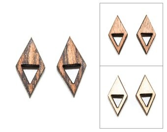 Geometric Double Triangle Wooden Post Earrings - Laser Cut Jewelry (Choose Bocote, Mahogany, or Maple)