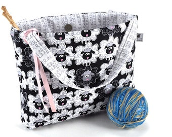 Knitting Project Bag Crochet Tote - Sheeply