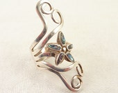 RESERVED for Zoe ============= Size 7.5 Adjustable Vintage Openwork Vining Sterling and Shell Flower Wrap Ring