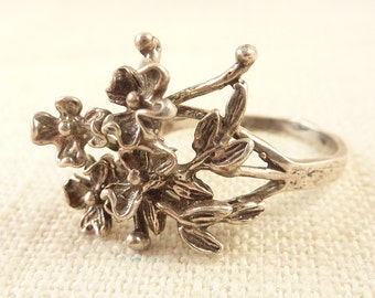 Size 7 Vintage Sterling Organic Bouquet of Flowers Ring