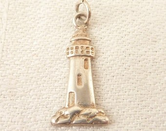 Vintage Sterling Flattened Lighthouse Charm