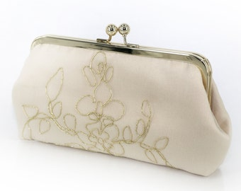 Champagne Bridal Clutch with gold thread 8-inches | Bridesmaid Gift | Bridal Clutch