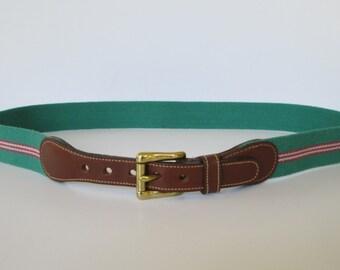 Dooney & Bourke Green Wool Canvas Leather Belt  34