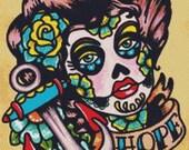 Modern Cross Stitch, Illustrated Ink - Tattoo Art, Cross Stitch, Hope, Counted Cross Stitch , DMC Materials, Day of the Dead, Sugar Skull
