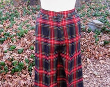Tartan Plaid Skort Trousers Up Size 11/12 Wool or Poly Blend Sixties School Girl Style on Campus Vintage Clothing ILGWU Label Made in USA