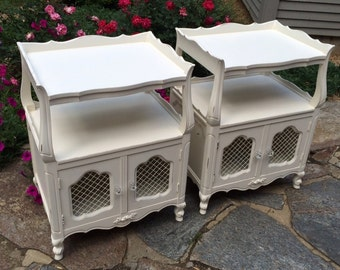 Vintage Set of French Provincial Nightstands, Painted