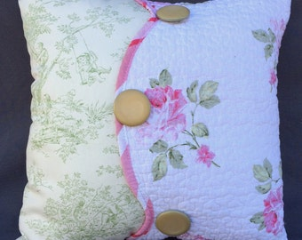 Romantic toile and quilted rose fabric pillow