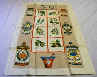 Vintage Linen Tea Towel, Herb and Spice, Types of Herbs and Spices, NOS, Towel with pictures, Linen Towel