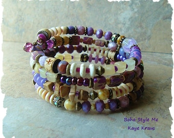 SALE - Bohemian Jewelry, Colorful Boho Bracelet, Layered Bracelet, Peace and Calm, Boho Style Me, Kaye Kraus