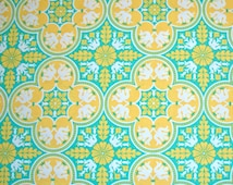 COUPON Code Sale - Joel Dewberry, Notting Hill, Historic Tile, Canary Yellow, Free Spirit, 100% Cotton Quilt Fabric, Aqua, SELECT a SIZE