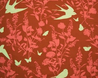 SALE - Joel Dewberry, Bungalow, Swallow Study, Chestnut, Free Spirit, 100% Cotton Quilt Fabric, Quilting Fabric