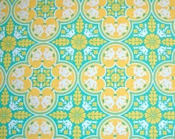 Joel Dewberry, Notting Hill, Historic Tile, Canary Yellow, Free Spirit Fabric, Designer Cotton Quilt Fabric, Aqua & Yellow, SELECT A SIZE