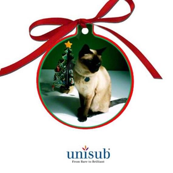"6  - Ball Ornament BLANKS, Unisub™ Gloss White Sublimation Aluminum 2 Sided Christmas Ornament, 3"" x 3.37"" x .030"""