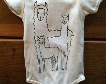 Baby Llama Family Onesie Organic Cotton Natural