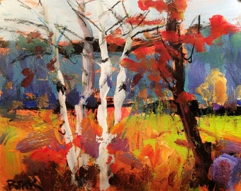 Fall Landscape Painting, original acrylic art, autumn scene, birch trees with maples in woods, by Russ Potak