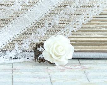 Floral Ring Off White Flower Ring Ivory Rose Ring Adjustable Ring Filigree Ring Off White Rose Jewelry