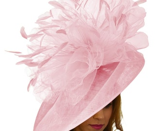 Mundhoo Pink Fascinator Hatinator Hat for Kentucky Derby, Weddings on a Headband (20 colours available)