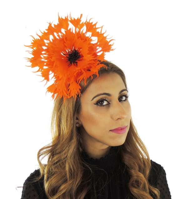 Bright Orange Ascot Flower fascinator hat for cocktails weddings and church on a Headband