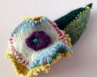 Floral brooch- recycled, felted wool