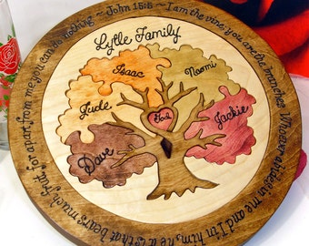 Custom Designed Family Tree Unity Ceremony Wedding Puzzle Unity Ceremony Alternative Personalized Blended Family Wedding Gift Christmas Gift