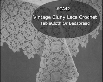 Antique Cluny Lace Filet Crochet Bedspread Or Tablecloth Pattern Antique Cluny Lace Pattern CA42-PDF FILE- Pattern Available Mailed-INQUIRE