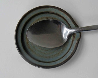 Kitchen Spoon Rest in Rustic Blue Gray with Brown, Wedding Shower Gift, Kitchen and Dining, Stoneware Pottery Decor