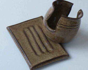 SET of 2, Rustic Brown Soap Dish and Sponge Holder, Ships Fast, Bath and Kitchen Stoneware Accessories, Valentine Gift for Her