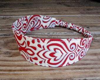 Fabric Headband with Elastic: Red and Aqua Print on Beige