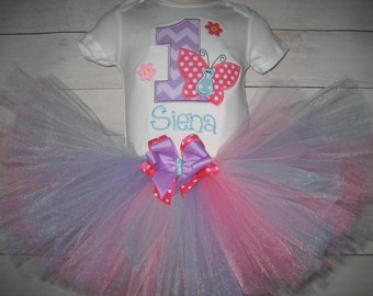 baby girl Birthday Butterfly tutu set,  lavender and hot pink tutu set,  monogrammed tutu set