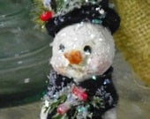 One of a Kind Sculpted paper mache Folk Art Snowman