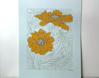 Poppy 8x10 Print with Gold and Brown Outline Floral Design on Textured Blue Paper