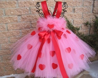 PINK RED HEARTS.  Valentine's Day Tutu Dress.  Birthday Tutu Dress. Flower Girl Gown.  Photo Shoots.  Pink Tutu Dress. Girl Tutu Dress.