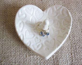 Antique white heart dish gift for bridesmaids, jewelry holder, kitchen storage