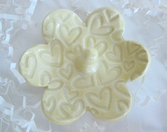 "Light yellow ring holder, hearts jewelry tray, Christmas gifts, 3.5"" wide"