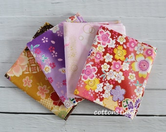 Japanese kimono Cherry Blossom Fabric Fat Quarter Bundle Set