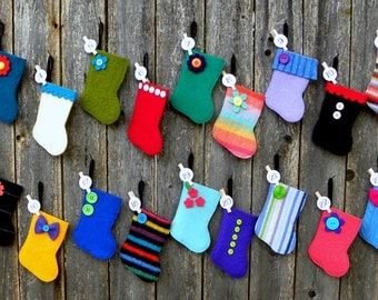 Advent Calendar - Rescued Wool Mini Stocking Ornaments - 2016 Set C - set of 25 - recycled wool sweaters - shinysparklepretty