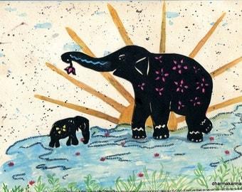 Elephant Yoga, Hatha (i) Yoga, Yoga Art, Elephant Art, Morning Prayers, Sun Salutation