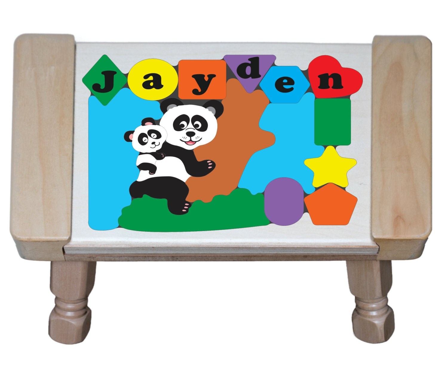 Personalized Name Panda Bears Wildlife Animals Theme Puzzle