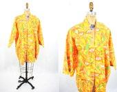 1960s kimono vintage 60s bright tropical Cavanaghs novelty print open top