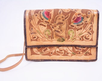 1970s purse vintage 70s deer hand tooled leather large shoulder bag