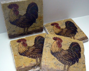 Rooster Natural Stone Tile 4x4 Drink Coaster Set of 4 Coasters Farm House Country Kitchen Rooster Coasters