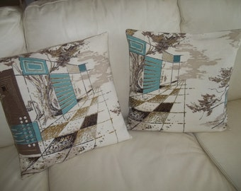 Midcentury Modern Pillow Cover Set of 2, 16 x 16 Throw Pillow Cover