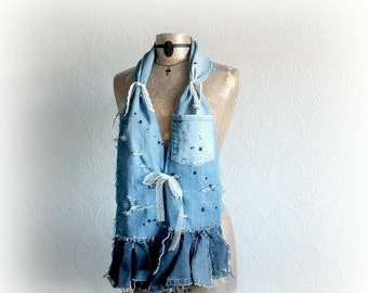 Rustic Denim Scarf Country Western Shabby Boho Clothes Women's Clothing Grunge Rocker Fashion Scarf Vintage Style Distressed Ripped 'DEVON'