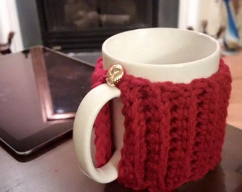 Charming Ribbed Cup Cozy with Button
