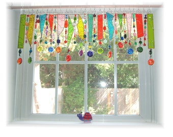 Spring Has Sprung NUMBER THREE Stained Glass Window Treatment Kitchen Valance Curtain