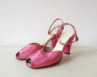 1940s heels / ankle wrap heels / Beverly Hot Pink Silk heels
