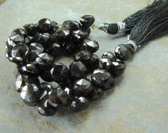 Black Spinel Faceted Onion Beads - 2 Pieces - Gemstone Briolettes - Gemstone Beads - Faceted Gemstone Beads