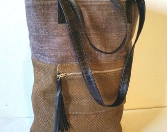 Burlap Handbag in Brown & Grey, Vegan Tote Bag, Burlap Tote Bag in Olive Brown