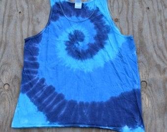 Deep Elem Blues - Spiral Tie Dye Tank Top (Gildan Ultra Cotton Tank Size XL)(One of a Kind)